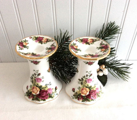 Royal Albert Old Country Roses 2 Candleholders Bone China Candle Holder Pair 1990s