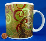 Signature Starbucks Mug 20 oz Aroma Swirl Design 1999 Green Brown Rust