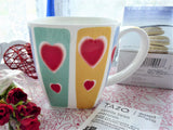 Large Valentine Hearts Mug Stripes 12 Ounces English Bone China Crown Trent Square