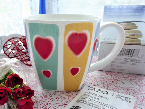 Large Valentine Mug Stripes Hearts 12 Ounces English Bone China Crown Trent Square