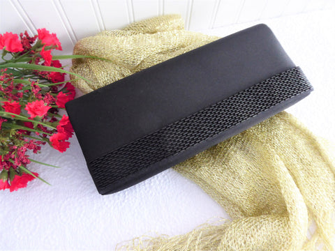 Black Beaded Purse Clutch Shoulder 1990s Poie de Soie Evening Tea Party