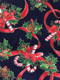 Christmas 2 Placemats 1990s Candy Canes Holly Ribbon Dinner Party Holiday Insulated Back