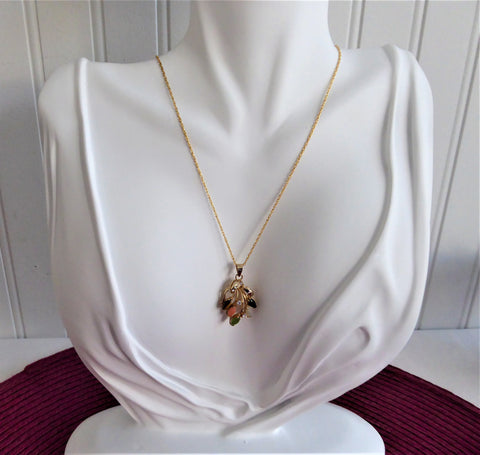 Necklace Semi Precious Leaves Pendant GF Chain Rhinestones Leaves Elegant Rose Quartz Tiger Eye