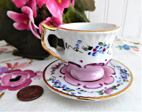 Miniature Cup And Saucer Floral Luster Portugal 1990s Mini Teacup