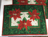 Christmas Fabric 2 Placemats 1980s Christmas Tapestry Poinsettias Dinner Party Holiday Holly