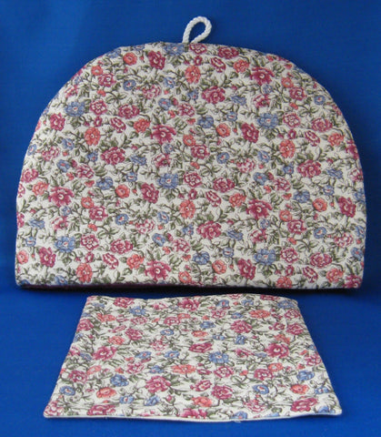 Tea Cozy and Trivet Classic Padded Floral Chintz Cosy New With Coaster