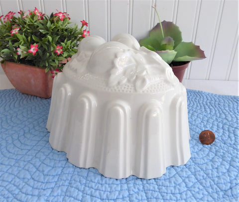 English White Ironstone Pudding Mold Casserole Oval Baking Dish Mould 1970s