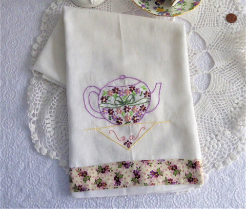 Embroidered Teapot Tea Towel Hand Made Silver Cloth Dish Towel USA  Artisan