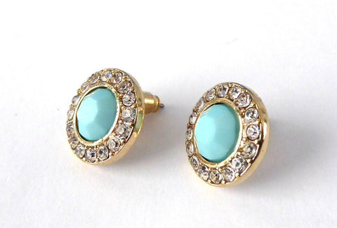 Turquoise Color Rhinestone Halo Earrings 1990s Round Rhinestones Posts