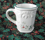 Pfaltzgraff Winterberries Sculpted Mug Tankard Vintage Holly Berries Christmas Holiday Hot Chocolate