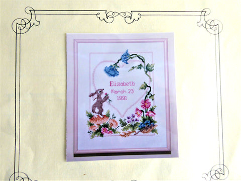Cross Stitch Kit Baby Announcement Bunny Flowers 1991 Thread Chart Aida Needle As New