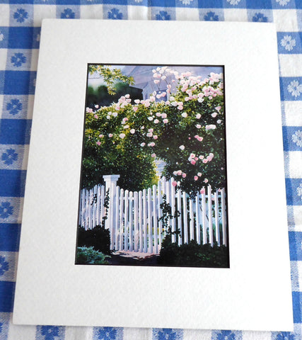 Rose Arbor Watercolor Print Barbara Fox Matted 1992 Victorian Garden Picket Fence