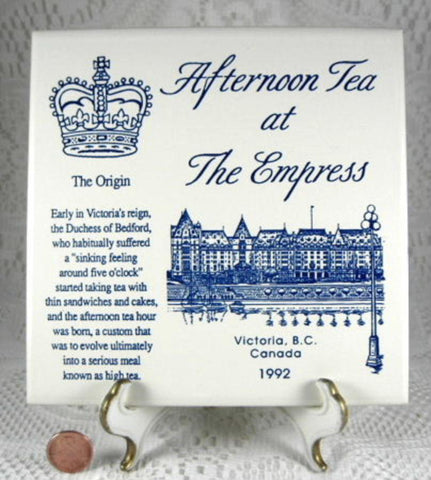 Tea Tile Empress Victoria BC Afternoon Tea 1992 Wall Tile Blue And White