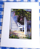 Wicker Chair On Porch Wisteria Watercolor Print Barbara Fox Matted 1992 Victorian Home