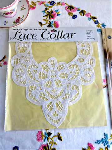 Daisy Kingdom Battenburg Lace Collar 1993 For Simplicity Pattern 8870 White Lace