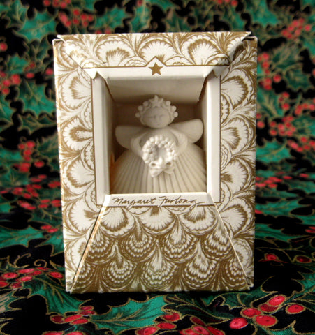 Christmas Ornament Margaret Furlong Christmas Wreath Shell Angel Boxed 1993 Holiday
