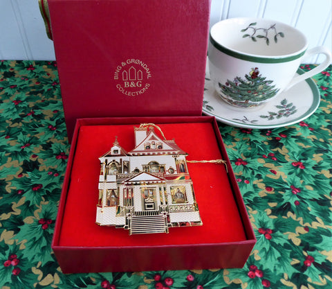 Bing And Grondahl First Doll House Christmas Tree Ornament Boxed 24kt Gold Plated