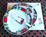 Christmas Holiday Cake Plate And Server Holly Porcelain Boxed Deck The Halls Christmas Tea
