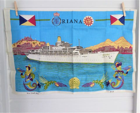 Tea Towel P & O Cruise Ship Oriana Irish Linen 1995 Sailing Ship Travel Souvenir