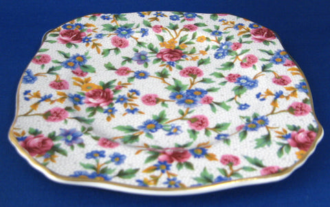 8-18 x 6-34 1938 Royal Winton Old Cottage Chintz Square Tray Pink Blue Yellow Floral Chintz Relish Plate Saville Shape