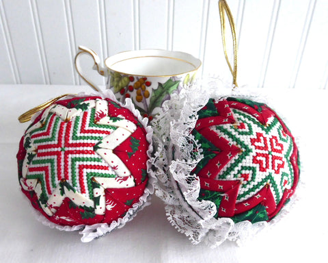Pair Christmas Ornaments Handmade Cross Stitch Patchwork Red Green 1995 Dorothy