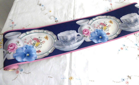 Wallpaper Border Teacups Pansies Plates Blue Pink 5 Inches Wide