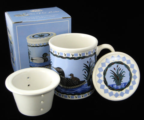 Loon Tea Mug With Infuser And Coaster Birds Blue And White Blue And White Infuser Mug