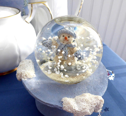 Snow Buddies Snow Globe Tea Table Decor Snowman Blue White Christmas Winter In Box