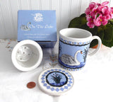 Boxed Swan Tea Mug With Infuser And Coaster Birds Blue And White Blue And White Infuser Mug