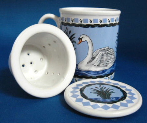 Swan Tea Mug With Infuser And Coaster Birds Blue And White Blue And White Infuser Mug