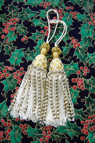 Pair of Beaded Christmas Tree Ornament Tassels Metallic Gold 8 Inches Long Victorian Style