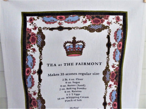 Fairmont Empress Scones Tea Towel 2000 Victoria BC Dish Towel China Pattern