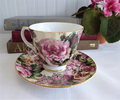 Cottage Rose Chintz Teacup Royal Patrician England Bone China Lush Roses