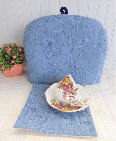 Tea Cozy Set Blue On Blue Floral Padded US Hand Made With Trivet Mug Mat 1999