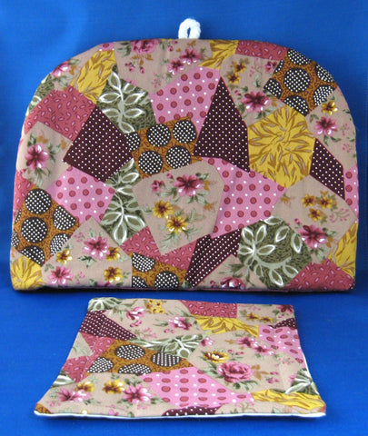 Tea Cozy Faux Patchwork Padded US Hand Made New With Trivet Wine Pink