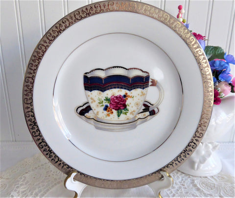 Pretty Teacup Center Salad Buffet Plate Platinum Embossed Border Teacup Decor Tea Party