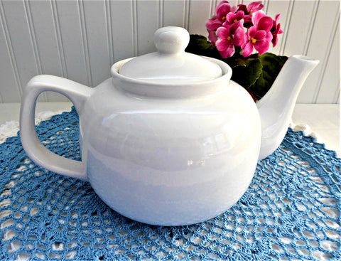 White Brown Betty Teapot Ribbed Large Shiny Glaze Pottery