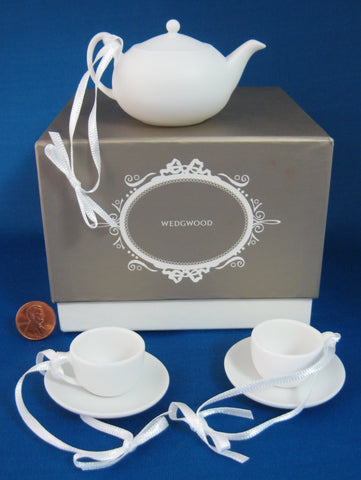 Wedgwood White Jasperware Mini Teaset 3 Chistmas Ornaments Boxed Teapot Teacups