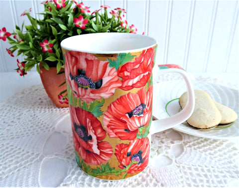 Dunoon Mug Buckingham Gorgeous Oriental Poppies Metallic Gold Brookshaw