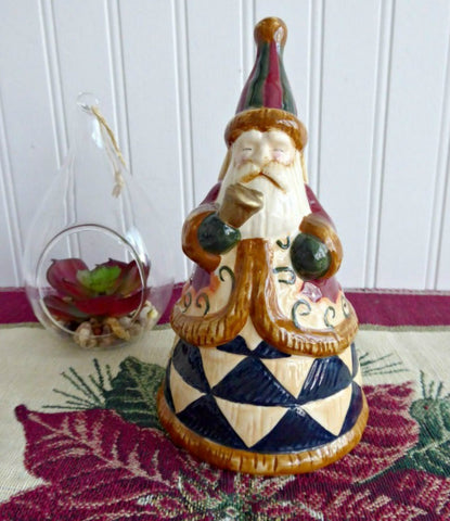 Jim Shore Santa Bell Heartwood Creek Christmas Hostess Ceramic Bell Earth Tones Enesco