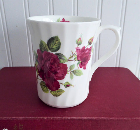 Mug Burgundy Roses England Bone China Allyn Nelson Royal Patrician 2003