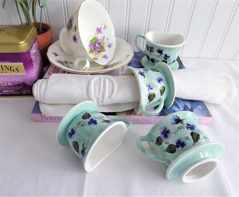 Teacup Shape Handpainted Violets Napkin Rings Set Of 4 Ceramic Birds Egg Blue Purple
