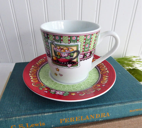 Mary Englebreit Cup And Saucer Comfort And Joy Christmas Holiday 2003