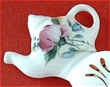 Royal Patrician Tea Bag Caddy Tea Scoop Roses Bluebells Teapot Finial