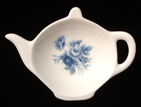Tea Bag Caddy Blue Flowers Teapot Shape English Bone China Allyn Nelson 2003