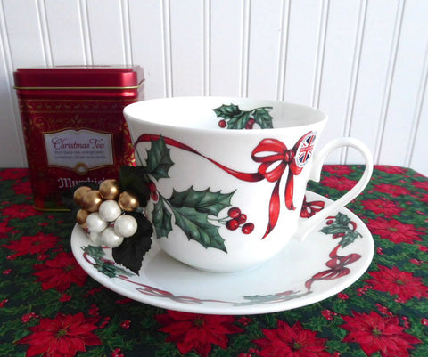 Christmas Ribbons Breakfast Size Cup And Saucer Roy Kirkham Holly Red Ribbons Bone China