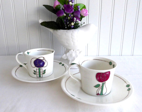 Dunoon 2 Arts And Crafts Espresso Cups And Saucers Bone China Demi Helensburgh