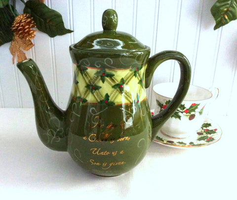 Teapot Christmas For Unto Us Coffeepot Holly Dayspring Scripture Tall Tea Pot