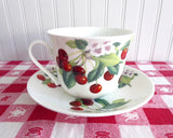 Cherry Breakfast Size Cup And Saucer Roy Kirkham Bone China Red Cherries Large