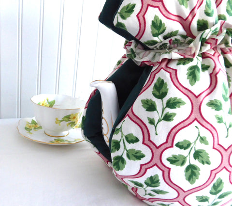 Huge Tea Cozy Padded Muff Style Cosy Orchid Stitchery Canada Pink Green